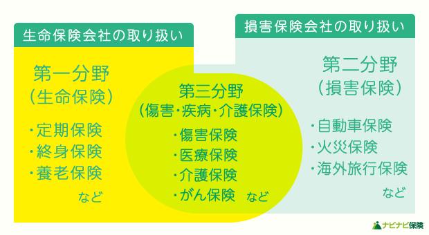 生命保険と損害保険の分野の分類