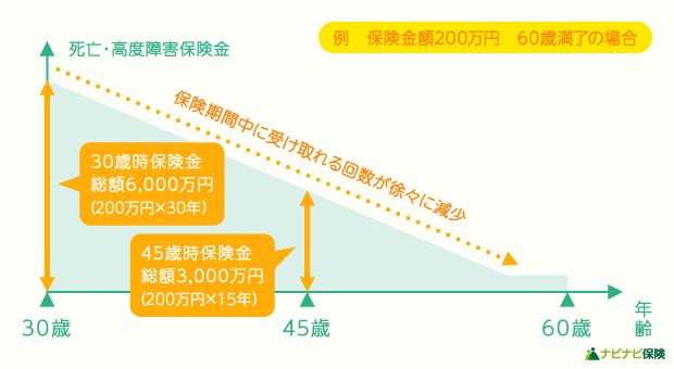 年金型(収入保障保険)で将来受け取れる保険金額の例